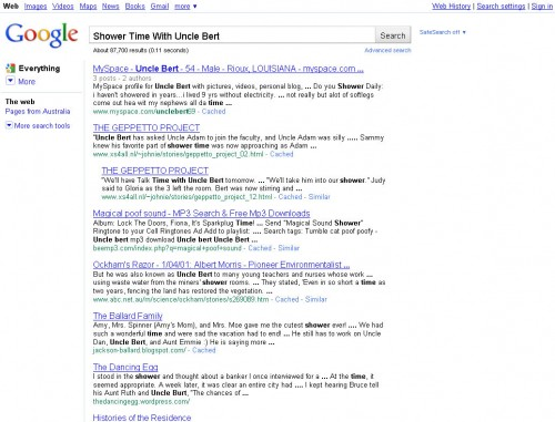 """Google search for """"Shower Time for Uncle Bert"""""""