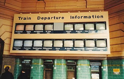 """Train Departure Information"" - Flinders Street Station in the early 1980s (via AWA Rediffusion)"