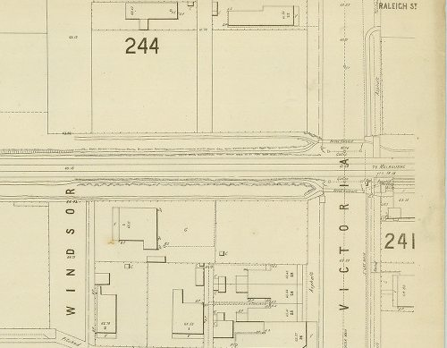 MMBW detail plan #244, dated 1895. Victoria Street, Footscray