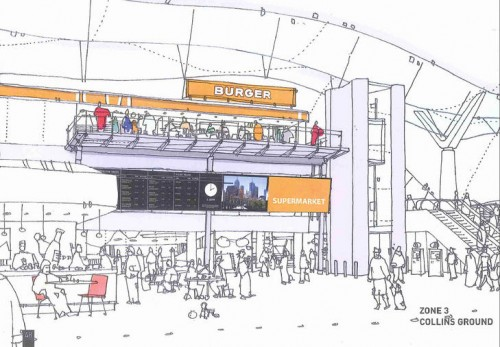 An artist's impression of Southern Cross Station's new retail precinct, at the Collins Street entrance