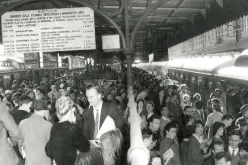 Crowded railway platform at Flinders Street Station, 1960