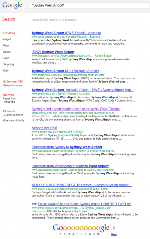 Google search results for 'Sydney West Airport'