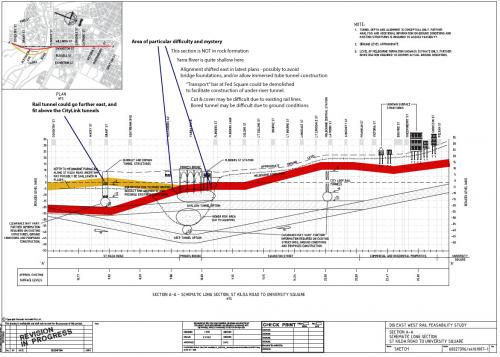 Possible 'shallow' Melbourne Metro tunnel profile beneath Swanston Street (by Evan C)