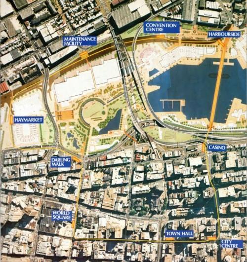 Planned Sydney Monorail network, circa 1988
