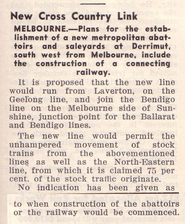 1957 'Railway Transportation' article on the cross country railway via Derrimut