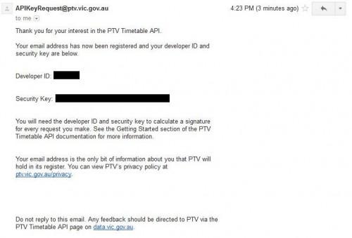 API key received from PTV