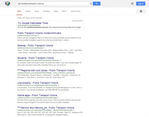 Google search results for the PTV Model Commuters website