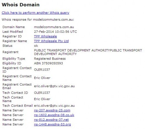 'Whois' data for the PTV Model Commuters website