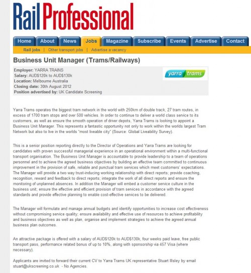 Yarra Trams looking in the UK for a Business Unit Manager