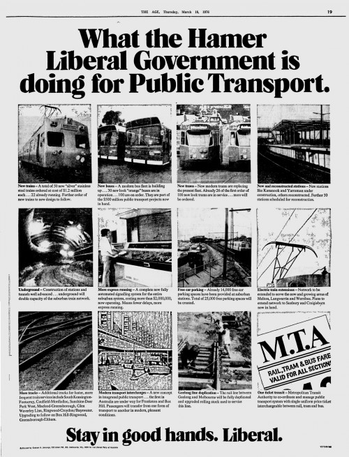 1976 Liberal Party advertisement - 'What the Hamer Government is doing for Public Transport'