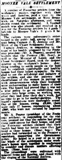 Moonee Vale settlement. The Argus (Melbourne, Vic. : 1848 - 1957), Monday 19 August 1907, page 6