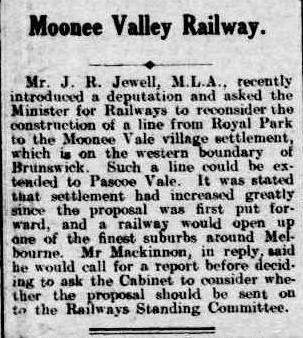 Railway to Moonee Vale village settlement. Brunswick and Coburg Leader (Vic. : 1914 - 1918), Friday 10 July 1914, page 1
