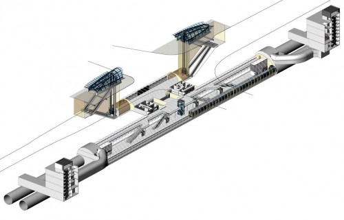 Macquarie Park station - axonometric cut away diagram