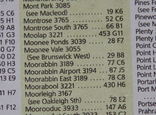 'Moonee Vale' in the Melway locality listing