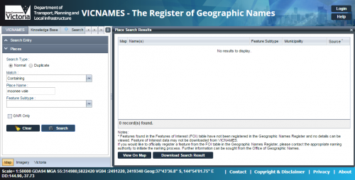 'Moonee Vale' not found in the Victorian Register of Geographic Names