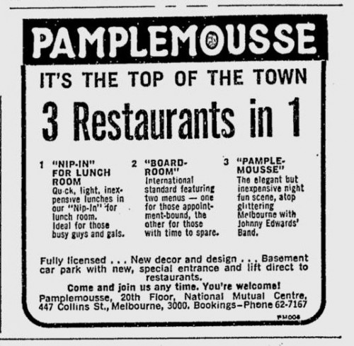 Pamplemousse restaurant, 447 Collins Street: The Age - May 9, 1972