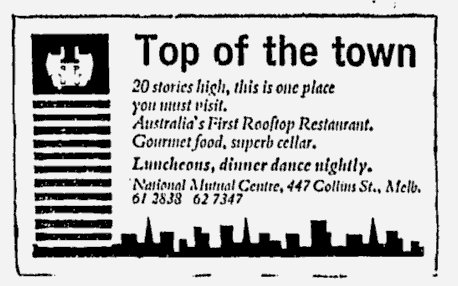 Rooftop restaurant at the National Mutual Centre: The Age May 22, 1970