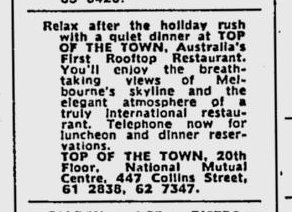 Top of the Town restaurant: The Age - Feb 18, 1969