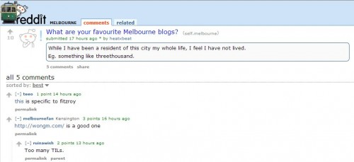 Reddit asks what is you favourite Melbourne blog