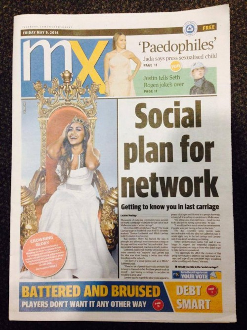 'Social Carriage' on the front page of the May 9, 2014 edition of mX