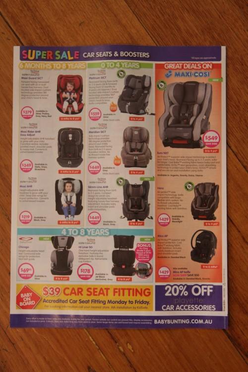 Baby car seat catalog