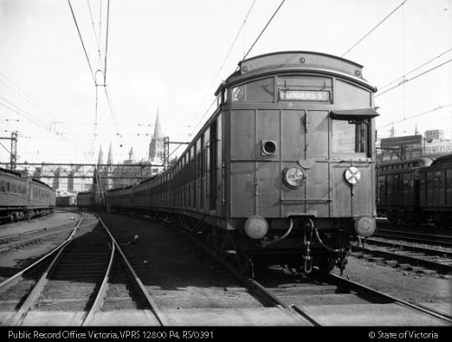 Tait sliding door electric train showing headlights (VPRS 12800/P4, item RS 0391)
