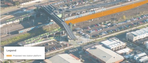 Image showing the location of proposed new station platform at West Footscray station, ton the Cross St side