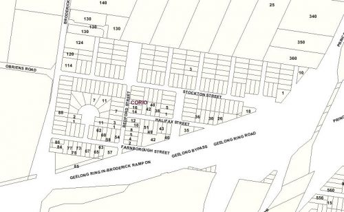 Abandoned New Station Estate, Corio (cadastral data from Land Victoria)