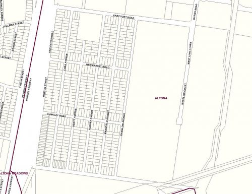 Abandoned subdivision at Burns Road, Altona (cadastral data from Land Victoria)