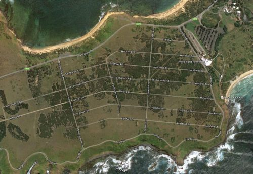 Abandoned Summerlands Estate, Phillip Island (2016 imagery from Google Maps )