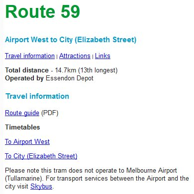 Route 59 tram to Airport West does not serve Melbourne Airport