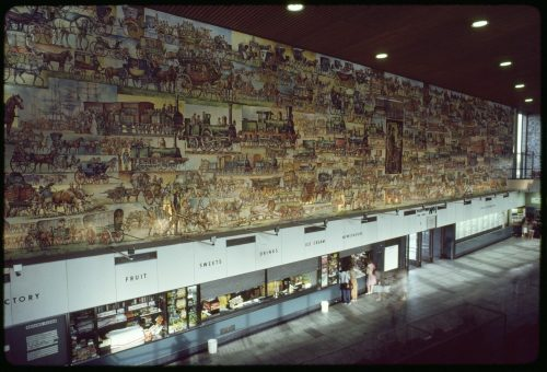 Cavalcade of Transport mural (photo by Rennie Ellis dated 1983, SLV H2011.150-2517)
