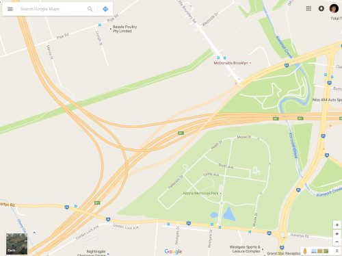 Google Maps Western Ring Road and West Gate Freeway