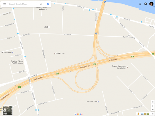 Google Maps missing junction of Bolte Bridge and West Gate Freeway