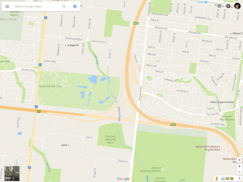 Google Maps missing junction of Western Ring Road and Deer Park Bypass
