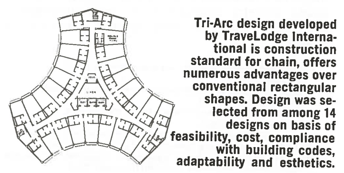 called tri arc the design concept derives its name in part from the floor plan created when three equally placed wings radiate outward from a central